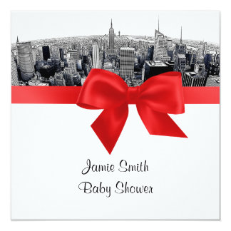 "NYC Etch Fisheye Skyline BW Red Baby Shower SQ 5.25"" Square Invitation Card"