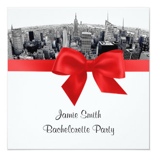 "NYC Etch Fisheye Skyline BW Red Bachelorette SQ 5.25"" Square Invitation Card"