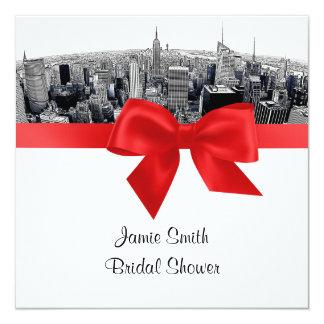 NYC Etch Fisheye Skyline BW Red Bridal Shower SQ Personalized Invitation
