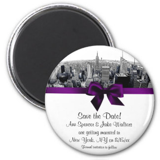 NYC Etched Fisheye Skyline BW Purp Save the Date R 6 Cm Round Magnet
