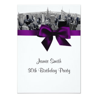 NYC Etched Fisheye Skyline BW Purple Birthday 13 Cm X 18 Cm Invitation Card