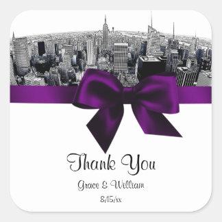 NYC Etched Fisheye Skyline BW Purple Favor Tag Square Sticker