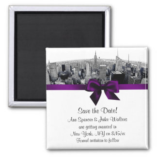 NYC Etched Fisheye Skyline BW Purple Save the Date Square Magnet