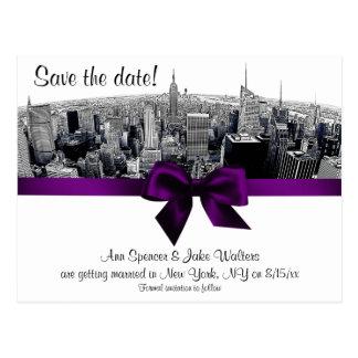 NYC Etched Fisheye Skyline BW Purple Save the Date Postcard