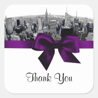NYC Etched Fisheye Skyline BW Purple Tag #2 Square Sticker
