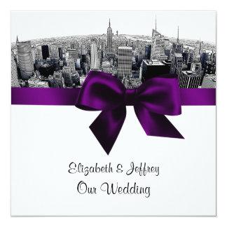 NYC Etched Fisheye Skyline BW Purple Wedding SQ Card