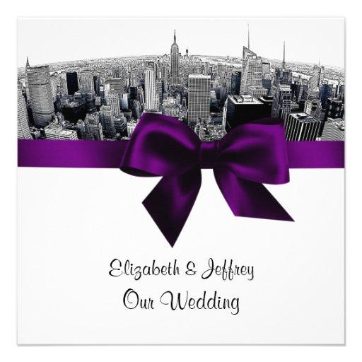 NYC Etched Fisheye Skyline BW Purple Wedding SQ Personalized Invites