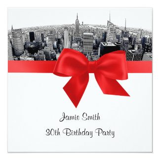 "NYC Etched Fisheye Skyline BW Red Birthday SQ 5.25"" Square Invitation Card"