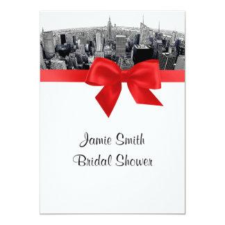 NYC Etched Fisheye Skyline BW Red Bridal Shower 5x7 Paper Invitation Card