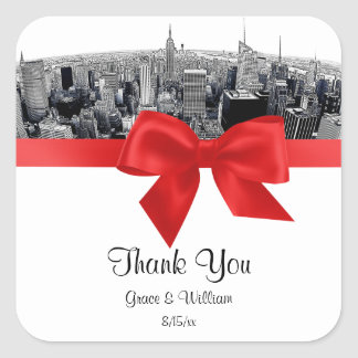 NYC Etched Fisheye Skyline BW Red Favor Tag Square Sticker
