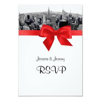 "NYC Etched Fisheye Skyline BW Red RSVP #2 Menu 3.5"" X 5"" Invitation Card"