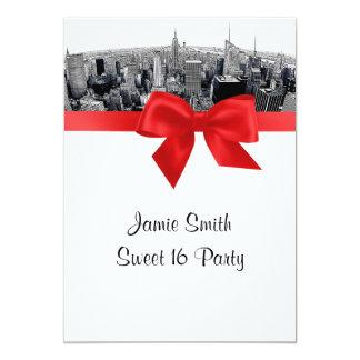 "NYC Etched Fisheye Skyline BW Red Sweet 16 5"" X 7"" Invitation Card"