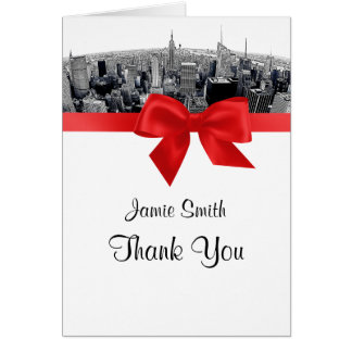 NYC Etched Fisheye Skyline BW Red Thank You Card