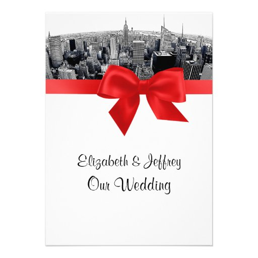 NYC Etched Fisheye Skyline BW Red Wedding Announcement