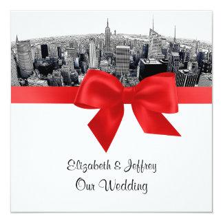 NYC Etched Fisheye Skyline BW Red Wedding SQ 13 Cm X 13 Cm Square Invitation Card