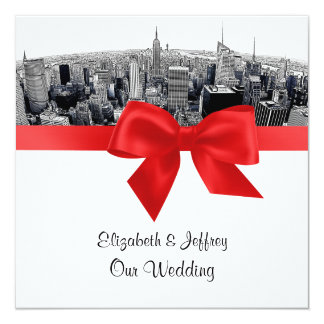 NYC Etched Fisheye Skyline BW Red Wedding SQ Card