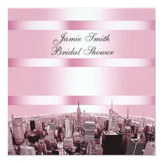 NYC Etched Skyline 2, Black Pink Bridal Shower 13 Cm X 13 Cm Square Invitation Card