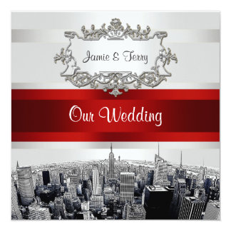 NYC Etched Skyline 2. White BG Red Ribbon Wedding 5.25x5.25 Square Paper Invitation Card