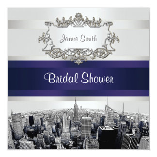NYC Etched Skyline 2, White, Blu Rbn Bridal Shower 13 Cm X 13 Cm Square Invitation Card