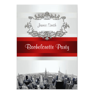 NYC Etched Skyline 2, White, Red Rbn Bachelorette 13 Cm X 18 Cm Invitation Card