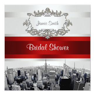 NYC Etched Skyline 2, White, Red Rbn Bridal Shower 13 Cm X 13 Cm Square Invitation Card