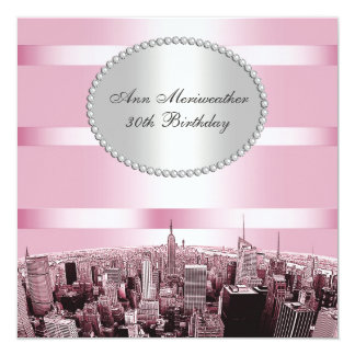 NYC Etched Skyline 2A Pink Black Birthday Card