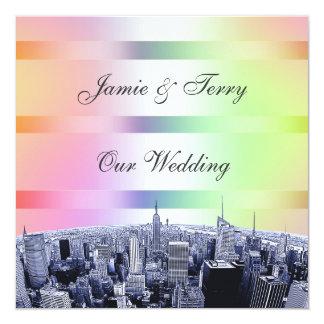 NYC Etched Skyline Pastel Rainbow 1 Wedding 13 Cm X 13 Cm Square Invitation Card