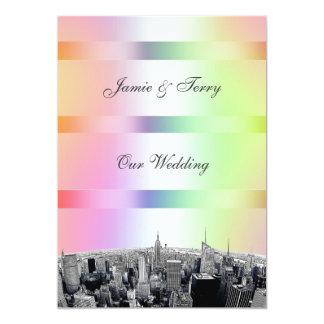 NYC Etched Skyline Pastel Rainbow 1 Wedding V 13 Cm X 18 Cm Invitation Card
