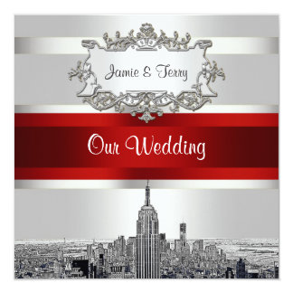 "NYC Etched Skyline. White BG Red Ribbon Wedding 5.25"" Square Invitation Card"