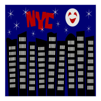 NYC Funky Skyline With Buildings, Moon & Stars Poster