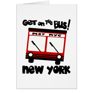 NYC, Get On The Bus With Red Hybrid Bus Greeting Card