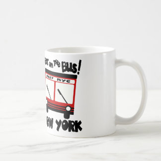 NYC, Get On The Bus With Red Hybrid Bus Coffee Mug