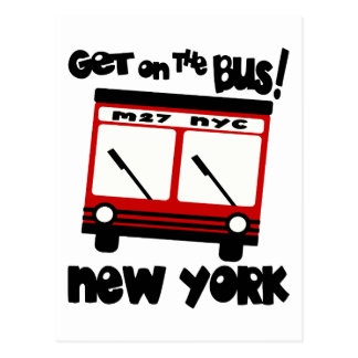 NYC, Get On The Bus With Red Hybrid Bus Postcard