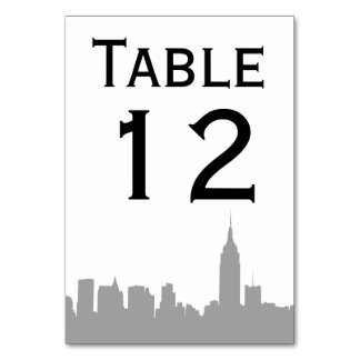 NYC Gray Skyline Silhouette Table Number