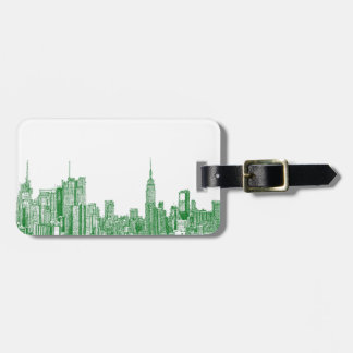 NYC green sketch Luggage Tag