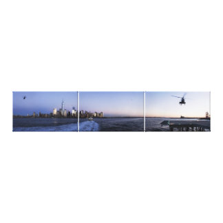 NYC Harbor with Ferry Boat and Helicopter Triptych Canvas Print
