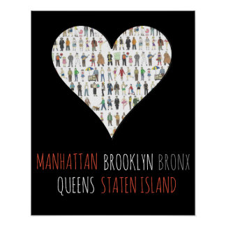 NYC Heart Brooklyn Bronx Queens Manhattan SI Art Poster