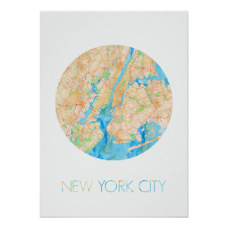 NYC in Watercolor Poster