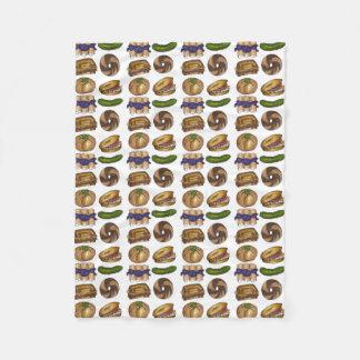 NYC Jewish Deli Foods Bagel Reuben Blintz Knish Fleece Blanket