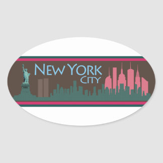 NYC Liberty Skyline chocolate Oval Sticker