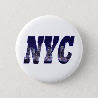 NYC- Manhattan Skyline from Brooklyn At Night 6 Cm Round Badge
