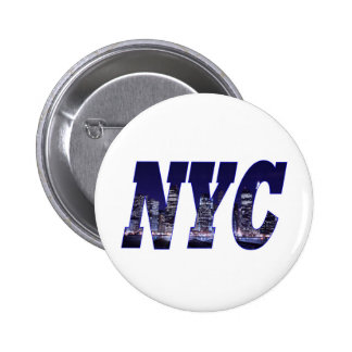 NYC- Manhattan Skyline from Brooklyn At Night 6 Cm Round Badge