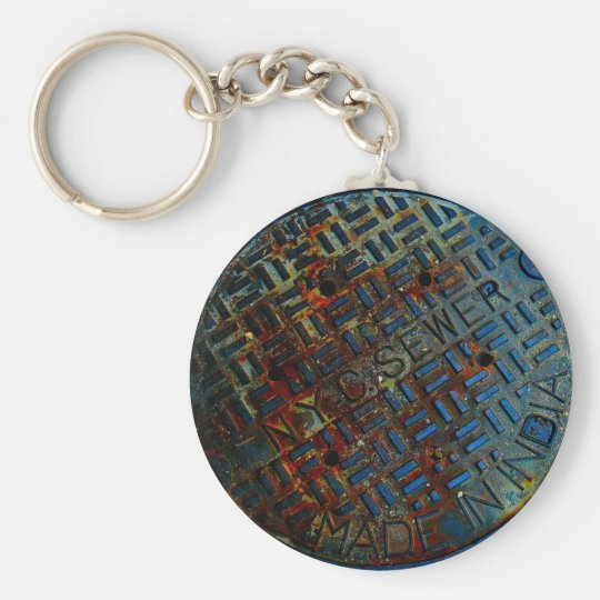 NYC Manhole Cover Basic Round Button Key Ring