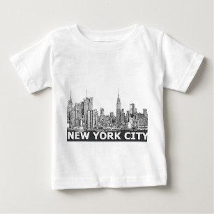 Vintage Brooklyn New York Skyline Cityscape Kids Girl Boy Short Sleeve Bodysuit Rompers 0-24M