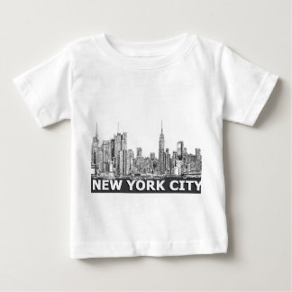 NYC monochrome skyline text Baby T-Shirt