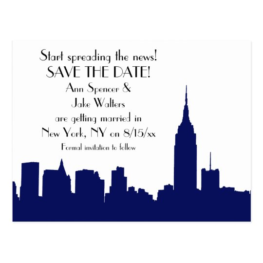 NYC Navy Blue Skyline Silhouette Save the Date Postcard