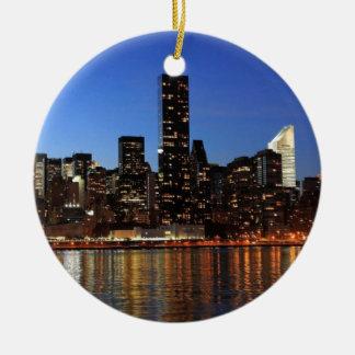 NYC New York City Manhattan Night Christmas Ornament