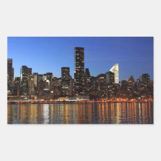 NYC New York City Manhattan Night Rectangular Sticker