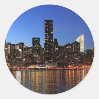 NYC New York City Manhattan Night Round Sticker