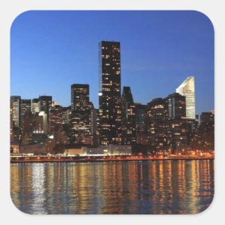 NYC New York City Manhattan Night Square Sticker